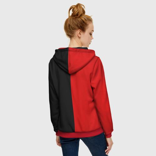 Женская толстовка на молнии с принтом Smail Black and red, вид сзади #2