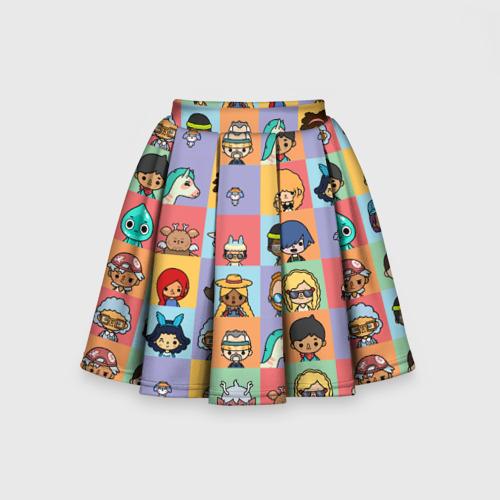 Детская юбка-солнце 3D с принтом Toca Life Worl, вид сзади #1