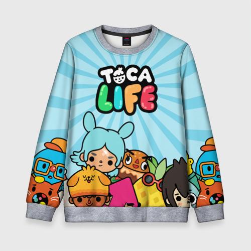 Детский 3D свитшот с принтом Toca boca life, вид спереди #2