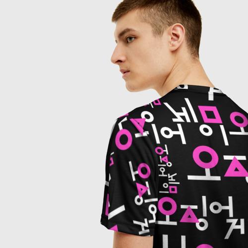 Мужская 3D футболка с принтом Игра в кальмара (лого узор), вид сзади #2