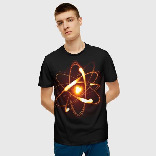 Мужская 3D футболка с принтом Атом, фото на моделе #1