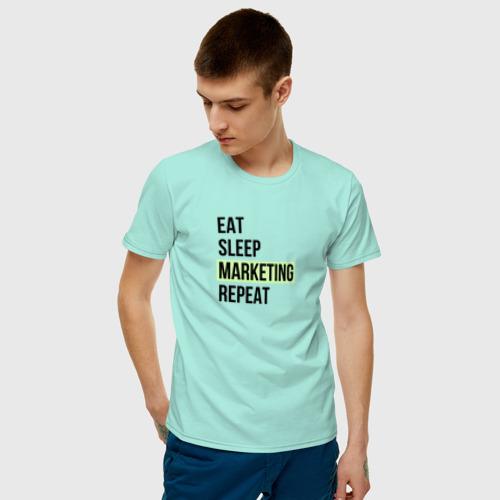 Мужская футболка с принтом Eat Sleep Marketing Repeat, фото на моделе #1