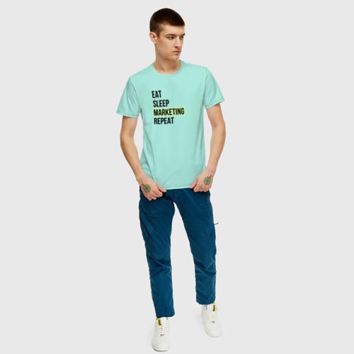 Мужская футболка с принтом Eat Sleep Marketing Repeat, вид сбоку #3