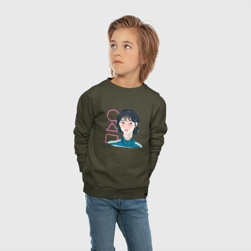 Детский свитшот хлопок с принтом Игра в кальмара - девушка, вид сбоку #3