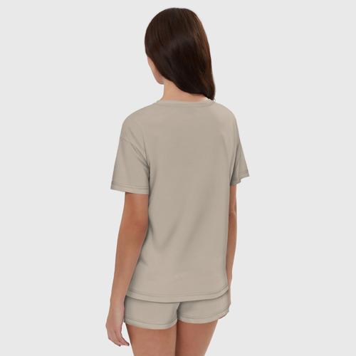 Женская пижама с шортиками хлопок с принтом Кальмар с лого, вид сзади #2